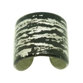 FaKaRa Ledja Black Silver Cuff Bracelet