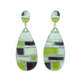 FKR Lacquer Mosaic Pistachio Earrings