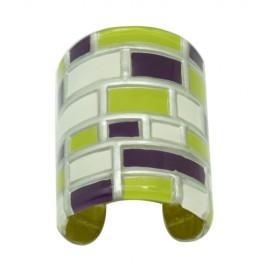 FKR Lacquer Mosaic Pistachio Large Cuff Bracelet