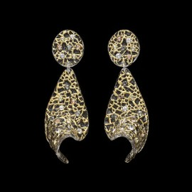 Lace Yellow Gold Colored Voile Earrings