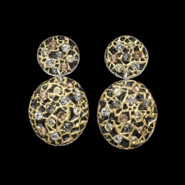 Lace Yellow Gold Colored Carapace Earrings