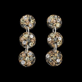 Lace Yellow Gold Colored Triple Mini Medallion Earrings