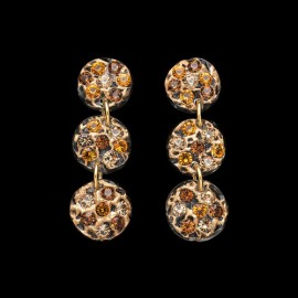 Lace Pink Gold Colored Triple Mini Medallion Earrings