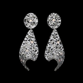 Lace Silver Colored Voile Earrings