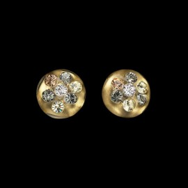 Nevada Yellow Gold Colored Medallion Earrings