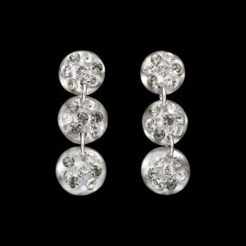 Nevada Silver Colored Triple Mini Medallion Earrings