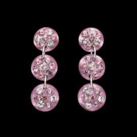 Nevada Cosmos Pink Triple Mini Medallion Earrings