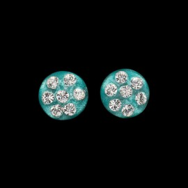 Nevada Cosmos Green Medallion Earrings