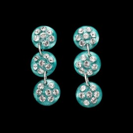 Nevada Cosmos Green Triple Mini Medallion Earrings