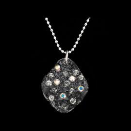 Lace Black Elongated Medallion Pendant