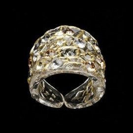 Lace Yellow Gold Colored Wide Ring