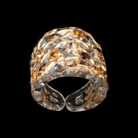 Lace Pink Gold Colored Wide Ring