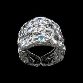 Lace Silver Colored Wide Ring