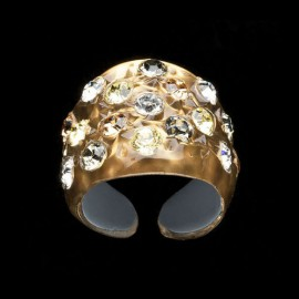 Nevada Yellow Gold Colored Wide Ring
