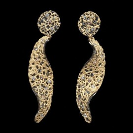 Lace Yellow Gold Colored Extra Long Herb Earrings