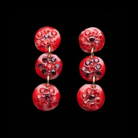 Nevada Red Triple Mini Medallion Earrings