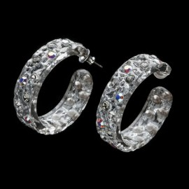 Lace Silver Colored Hoop Earrings