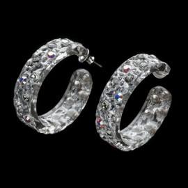 Lace Silver Colored Hoop Earrings