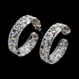 Lace White Hoop Earrings