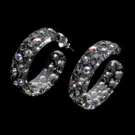 Lace Black Hoop Earrings