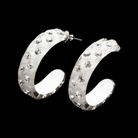 Nevada White Hoop Earrings