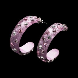 Nevada Cosmos Pink Hoop Earrings
