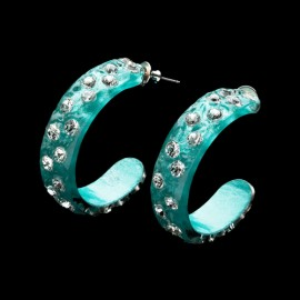 Nevada Cosmos Green Hoop Earrings