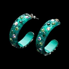 Nevada Green Hawaii Hoop Earrings