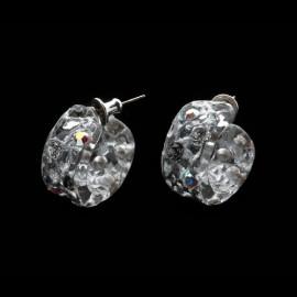 Lace Silver Colored Mini Hoop Earrings