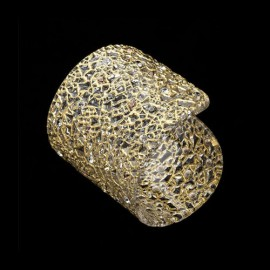 Lace Yellow Gold Colored Large Cuff Bracelet
